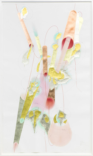 Jorinde Voigt, Tubes + Positions, ink, gold leaves, copper foil,oil crayon, pastel, pencil on paper, framed, 2014, 240 x 140 cm, unique