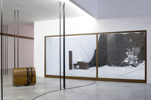 Tatiana Trouvé, Untitled (ref: ebuli), sand, copper, soil, formica, wood,metal, Plexiglas, 2007, 310 x 425 x 650 cm