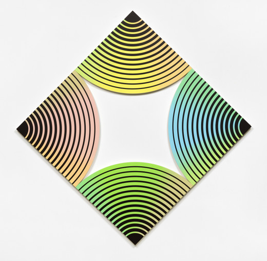 Claudia Comte, Quarter Circle Painting (from peach to pineapple), acrylic on canvas, 4 parts, 2019, each 75 x 75 x 4,5 cm; 29 1/2 x 29 1/2 x 17 3/4 in , unique