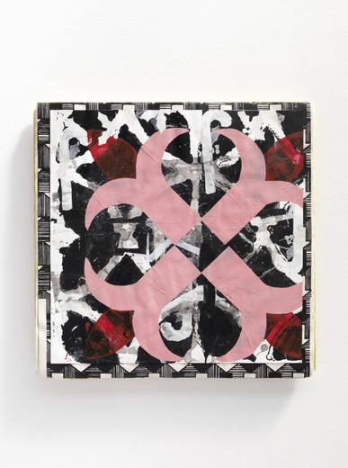 Lisa Lapinski, Untitled (Ref: Wallpaper piece #3), wallpaper, paint, paper, wood, 2011, 50.8 x 50.8 x 3 cm