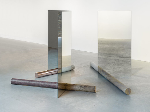Alicja Kwade, Light Transfer of Nature, mirror, granite, red granite, sandstone, wood, copper, concrete, 2016, 150 x 190 x 260 cm, unique