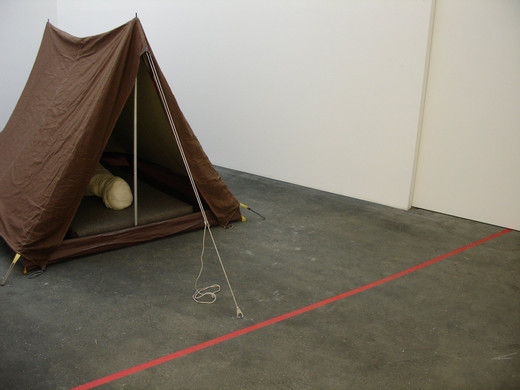 Kris Martin, Do not cross the red tape, tent, mattress, felt, mixed media, 2006, 150 x 180 x 200 cm
