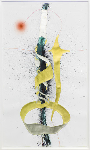 Jorinde Voigt, A Difference that makes a Difference + Tube + Focus, ink, gold leaves, oil crayon, pastel, Chinese ink, pencil on paper, framed, 2014, 240 x 140 cm, unique
