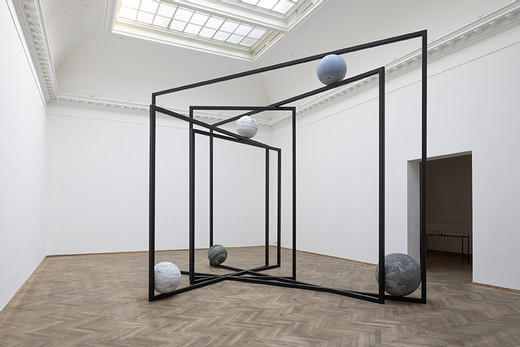 Alicja Kwade, DrehMoment, powder coated stainless steel, natural stone, 2018, 500 x 690 x 485 cm, unique
