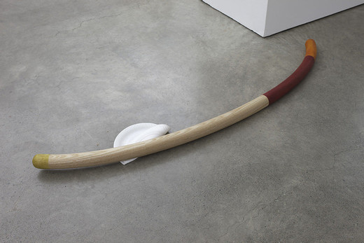 Helen Marten, Jointed wood curves for floor (x 2 sections), solid stained ash, cherry, American oak, cast rubber, nail tacks, string, 2013, 180 x 51 x 13 cm; 71 x 20  x 5 1/4 in 130 x 32 x 13 cm; 51 1/4 x 12 3/4 x  5 1/4 in
