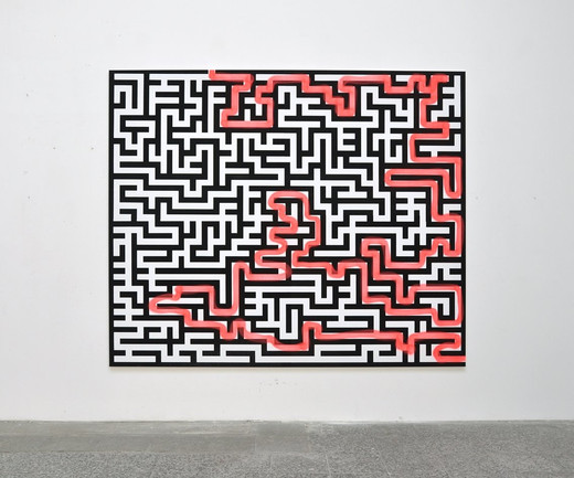 "<span class=""artists work-caption"">Michael Sailstorfer</span><span class=""title work-caption"">Maze 14</span><span class=""technique work-caption"">acrylic screen print and spray paint on canvas</span><span class=""year work-caption"">2011</span><span class=""dimensions work-caption"">190 x 230 cm</span><span class=""edition work-caption"">unique</span>"