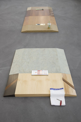 Helen Marten, Falling very down (low pH chemist), Cherry; stained Oak; Ash; Walnut; Maple; brown/green chipboard; Valchromat; Sterling board; airbrushed folded steel; iced coffee; dish cloth; Swiss army knife; broken glass, silk sock, 2012, 1: 305 x 95 x 3 cm 3: 230 x 95 x 3 cm 2: 115 x 95 x 3 cm 1: 150 x 95 x 3 cm