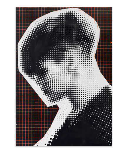 Johannes Wohnseifer, Cold War Painting #3 (black / orange grid), acrylic, lacquer, scotchlite on aluminium, 2012, 200 x 140 cm, unique