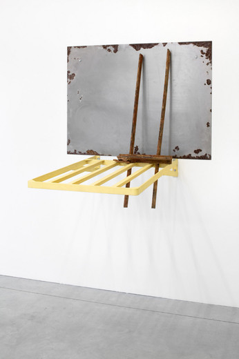 Meuser Meuser, Kofferträger, steel, oil, three parts, 2002, 105 x 120 x 110 cm, unique