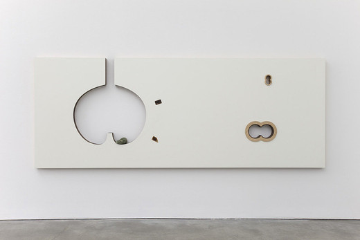 Helen Marten, Formica/walnut/maple wall panel, 2013, 110 x 290 x 6 cm