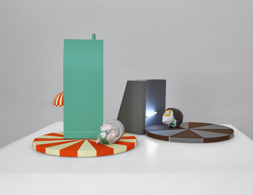 Andreas Schmitten, Oststrasse and Nordstrasse, wood, plastic, lamp, bookbinder linen, lacquer, 2016, 37 x 34 x 34 cm and 18 x 34 x 34 cm, © photo: Niels Schabrod