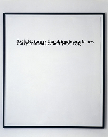 Monica Bonvicini, Architecture Is..., tempera marker on Fabriano paper, framed, 2002, 150 x 130 cm