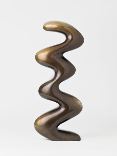 Claudia Comte, The Bronze Mighty Sneaky Snake, sculpture: bronze; plinth: spruce, 2018, ca. 50 x 21.50 x 10 cm, unique