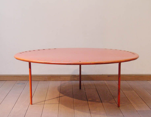 "Mathieu Matégot, ""Copacabana"""" table"", perforated steel, 1954 - 1955, h = 37,  Ø 96 cm"