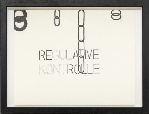 Monica Bonvicini, Regulative Kontrolle, ballpen on paper, framed, 2001, 27.9 x 35.4 cm