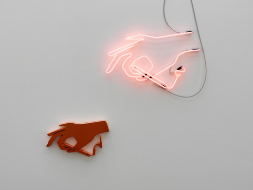 Helen Marten, Night Lites (technical pink), Custom fabricated Neon, hi-density polystyrene, laser cut powder coated steel, cut vinyl, 2 parts, 2011, dimensions variable