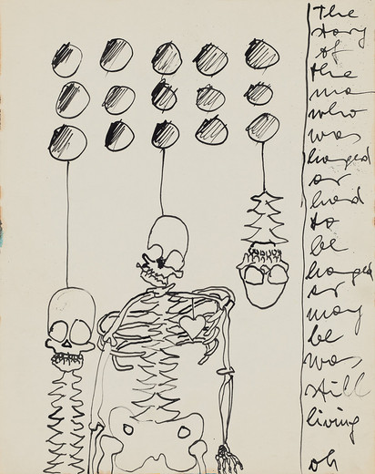 "<span class=""artists work-caption"">Kiki Kogelnik</span><span class=""title work-caption"">The Story of the Man Who</span><span class=""technique work-caption"">ink on paper, framed</span><span class=""year work-caption"">ca. 1964</span><span class=""dimensions work-caption"">36 x 28 cm</span><span class=""edition work-caption"">unique</span>"