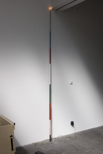 Andy Coolquitt, 1/2 a 2-fer, metal, epoxy paint, wire, light bulb, 2011, 340.36 x 6.35 x 6.35 cm, unique