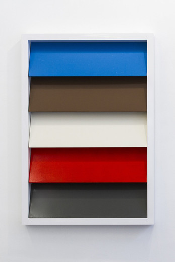 Johannes Wohnseifer, Shutter-Stutter Painting #3 (RAL 5012, 8025, 9001, 3020, 9010), aluminium powder coated, lacquer on aluminium, stainless steel screws, 2009, 145 x 100 x 10 cm