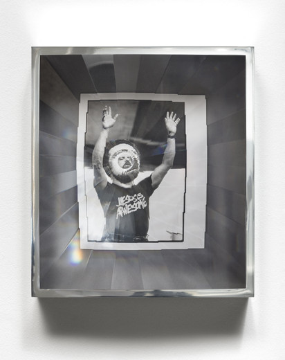 Jeremy Shaw, Towards Universal Pattern Recognition (Claude Missmer of Whitehall raises his arms during a song. 8/21/89), archival black/white photograph, acrylic, chrome, 2016, 42.50 x 37.50 x 16 cm, unique