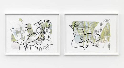 """<span class=""""artists work-caption"""">Camille Henrot</span><span class=""""title work-caption"""">Tropics of Love</span><span class=""""technique work-caption"""">India ink on paper, 2 parts, framed</span><span class=""""year work-caption"""">2014</span><span class=""""dimensions work-caption"""">each 41 x 61 cm; 16 1/4 x 24 in</span><span class=""""edition work-caption"""">unique</span>"""