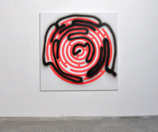 "<span class=""artists work-caption"">Michael Sailstorfer</span><span class=""title work-caption"">Maze 47</span><span class=""technique work-caption"">acrylic screen print and spray paint on canvas</span><span class=""year work-caption"">2012</span><span class=""dimensions work-caption"">190 x 190 cm</span><span class=""edition work-caption"">unique</span>"