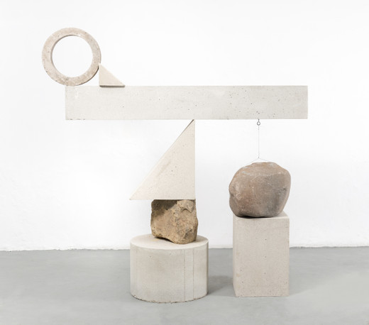 Jose  Dávila, One question for too many answers II, concrete, volcanic rock, 2019, 200.3 x 197.6 x 59.5 cm; 78 3/4 x 77 3/4 x 23 1/2 in, unique