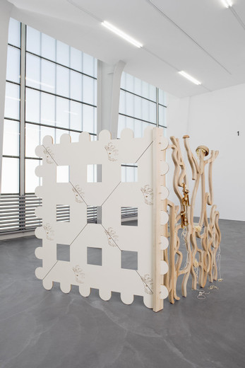 Helen Marten, Possible starch, Routed Formica; solid Oak, Ash, Maple, Lemon wood, Walnut, Sepili, Cherry; spaghetti, Kay Bojesen monkeys; lathed stainless steel pins; Olive wood bowls; knotted string, 2012, Panel 1: 195 x 140 x 4 cm Panel 2: 195 x 173 x 4 cm