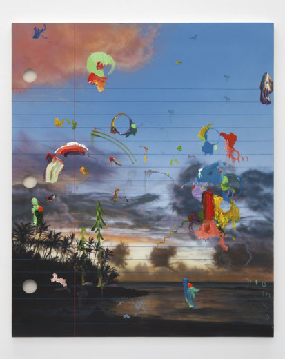 Friedrich Kunath, Tamalpais Low (at about 9), Acrylic, oil and colored pencil on canvas, 72 x 60 in