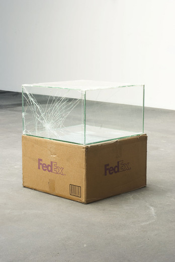 Walead Beshty, Fedex® Kraft Box ©2005 FEDEX 157872 REV 10/05 CC, Fedex 2-Day, Los Angeles-Berlin (Tracking No. 8652 8205 7839), two-way mirror glass  with safety glass laminate, silicone, cardboard, 2008, 50.8 x 50.8 x 30.48 cm