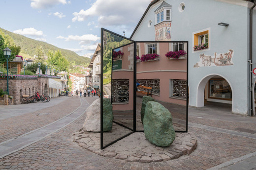 Alicja Kwade, Absorption (Dolomit), powder coated steel, mirror, natural stone, aluminium, bronze patinated, 2018, 230 x 150 x 6 cm, unique