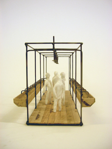 Atelier Van Lieshout, Model Shower unit (with figures), wood, steel, clay, 2006, 25 x 70 x 25 cm