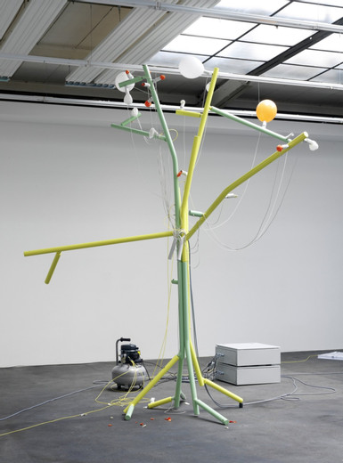 Andreas Zybach, Untitled, powder coated aluminium, cable, air compressor, electric electric control unit, 24 balloon, 2011, 355 x 305 cm dimensions variable