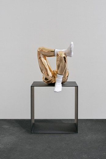 Elmgreen & Dragset, Dirty Socks, polished bronze, steel, lacquer, socks, 2019, 125 x 62 x 62 cm, unique