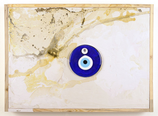 , Auge 3, glass,wood,acrylic lacquer,synthetic resin lacquer,shellac, 2005, 53.5 x 74 x 7.5 cm