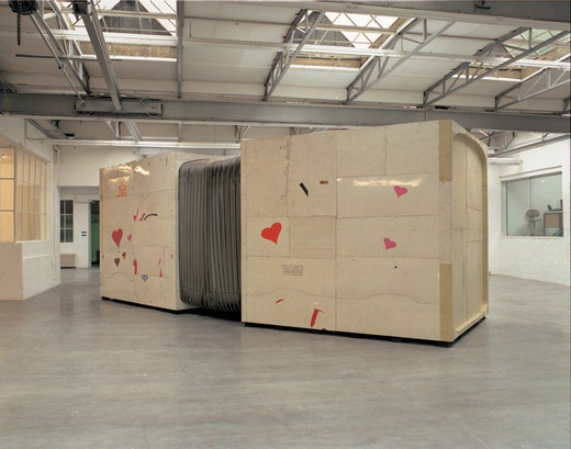 Michael Sailstorfer, Dean & Marylou, sheet metal ( public bus ), wood, rubber, bellows, 2003, 280 x 260 x 800 cm