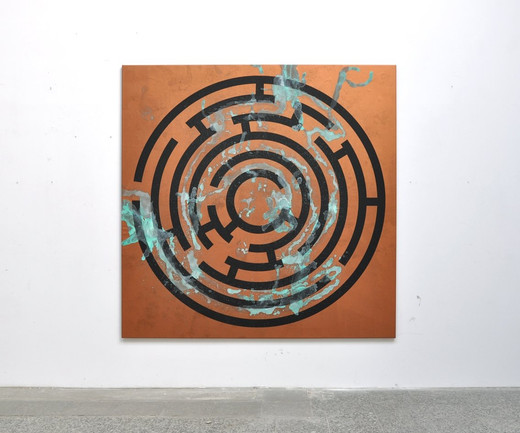 "<span class=""artists work-caption"">Michael Sailstorfer</span><span class=""title work-caption"">Maze 17</span><span class=""technique work-caption"">acrylic screen print and acid on copper primed canvas</span><span class=""year work-caption"">2011</span><span class=""dimensions work-caption"">190 x 190 cm</span><span class=""edition work-caption"">unique</span>"
