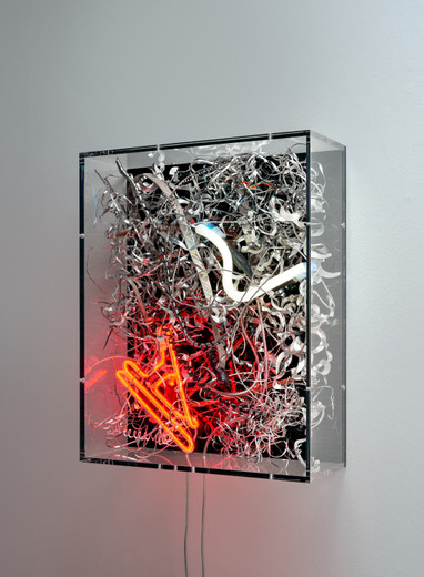 Anselm Reyle, Untitled, mixed media on canvas, neon, acrylic glass, 2020, 50 x 40 x 15 cm, unique