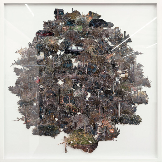Tue Greenfort, O Tannenbaum, collage by burned photographs, 2007, 99 x 102 cm