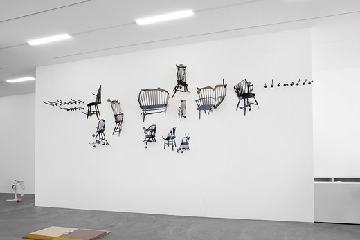 Helen Marten, Traditional teachers of English grammar, Powder coated laser cut steel; car keys; bells; forged and welded rebar, 11 parts, 2012, over all dimensions variable  (max chair profile approx.: 102 x 131 cm)