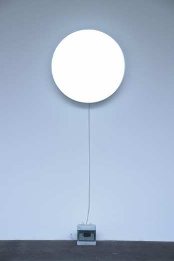 Johannes Wohnseifer, Permanent Full Moon, Plexiglas, aluminium, light controller programmed after the phases of the moon, 2007, t = 14,  Ø 80 cm, 3/3 + 2 AP