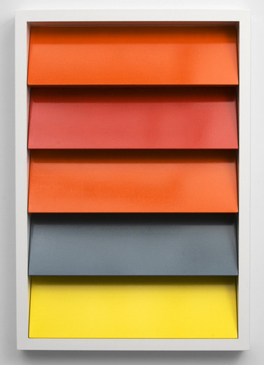 Johannes Wohnseifer, Shutter-Stutter Painting #1 (RAL 2004, 3020, 2004, 7000, 1018), aluminium powder coated, lacquer on aluminium, stainless steel screws, 2009, 145 x 100 x 10 cm, test