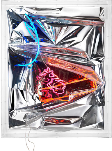 Anselm Reyle, Untitled, mixed media, neon, cable, acrylic glass, 2018, 195 x 156 x 26 cm, unique