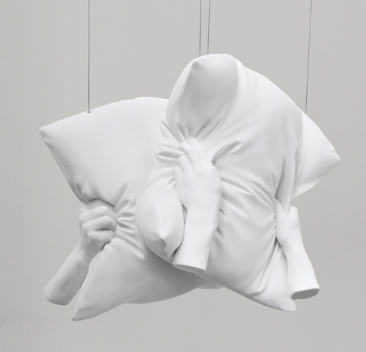 Elmgreen & Dragset, The Agony and the Ecstasy, Fig. 2, plaster, acrylic, steel cable, 2010, 60 x 60 x 35 cm