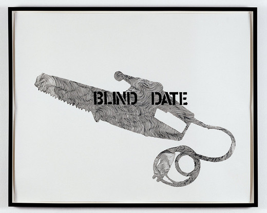 Monica Bonvicini, Blind Date, ink and tempera marker on paper, framed, 2004, 71.5 x 90 cm