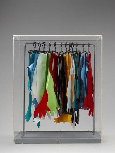 Kiki Kogelnik, Small Seventh Ave People, mixed media with sheet vinyl and hanger, 1970, 43 x 2,050 x 36 cm