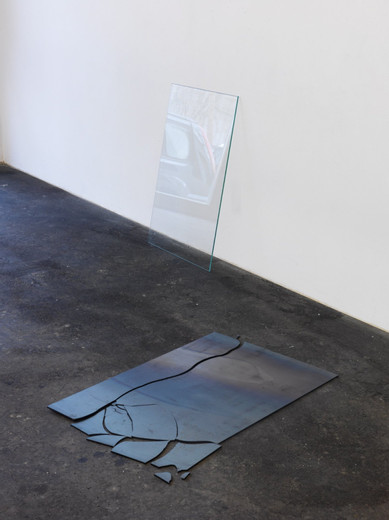 Alicja Kwade, 58 x 87, steel plate, glass, two parts, 2010, 58 x 87 cm, unique