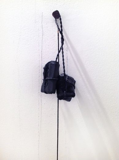 Tatiana Trouvé, Equivalence, cut in wall, bronze, 2010, 209 x 15 x 4 cm, unique from a series of 8 (6/8)