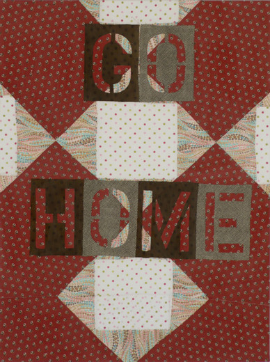 Lara Schnitger, Go Home, fabric, wood, pins, 2007, 121.92 x 91.44 cm