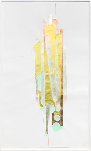 Jorinde Voigt, Tubes I, ink, gold leaves, shellac, oil crayon, pastel, pencil on paper, framed, 2014, 240 x 140 cm, unique
